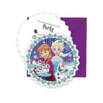 Einladung Invitations Einladungskarte Frozen Snowflakes Kinderparty Geburtstag 6 Stück