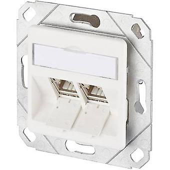 Metz Connect Network Outlet flush mount insert met hoofdpaneel CAT 6A 2-poorten zuiver wit