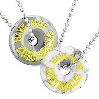 Amuletten hebben geloof verwachten dat wonderen liefde paren beste vriend Donuts Wit howliet hematiet kettingen