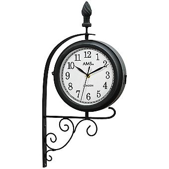 Station clock Quarzwanduhr wall clock quartz double-sided and rotatable weatherproof metal case
