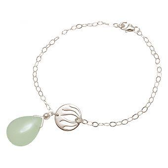 Drip Lotus Flower - mandala - chalcedony - ladies - earrings - 925 - - green - YOGA