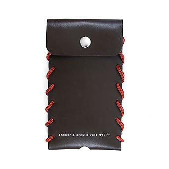 Anchor & Crew Small Deep Brown Standen Leather And Rope Phone Case