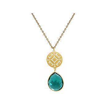GEMSHINE Damenhalskette Mandala grün Turmalin Quarz Silber, vergoldet, rose