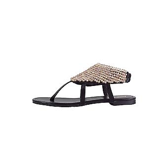 LMS Black Flat Sandal With Toe Post And Beadwork