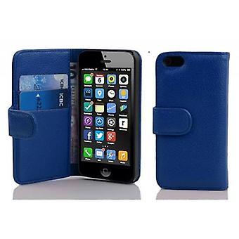 Cadorabo Veske til Apple iPhone 5C i KING BLUE - Telefonveske i teksturert faux skinn med stativfunksjon og kortrom - Case Cover Beskyttende Case Book Folding Stil