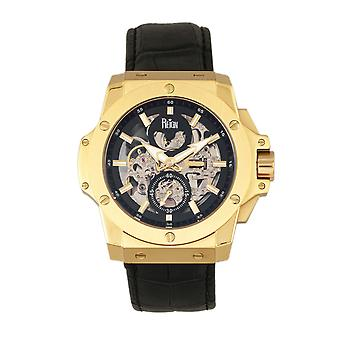 Reign Commodus Automatic Skeleton Leather-Band Watch - Gold/Black