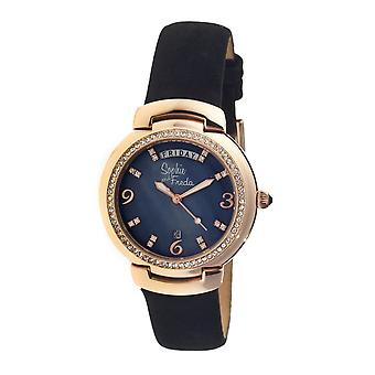 Sophie & Freda New Orleans MOP Leather-Band Watch - Rose Gold/Black