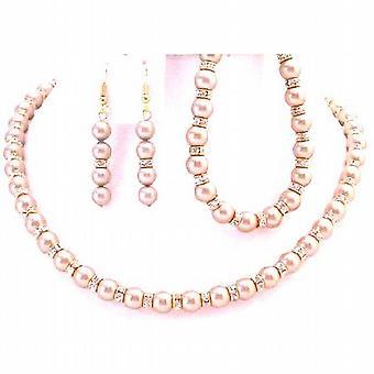 Glimmernder Halskette Ohrringe & Armband Champagner Perlen Gold Rondells