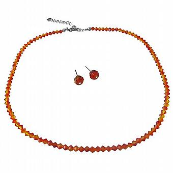 Swarovski String Inexpensive Wedding Jewelry Fire Opal Crystals Set