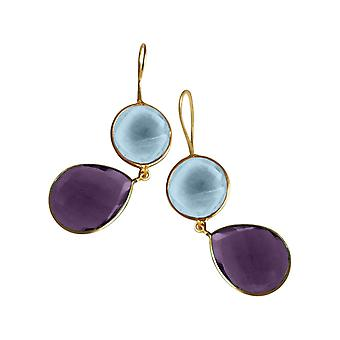 Gemshine örhängen ametister och blå topas droppar i 925 silver eller guldpläterad