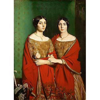De zusters van de kunstenaar, Theodore Chasseriau, 50x36cm