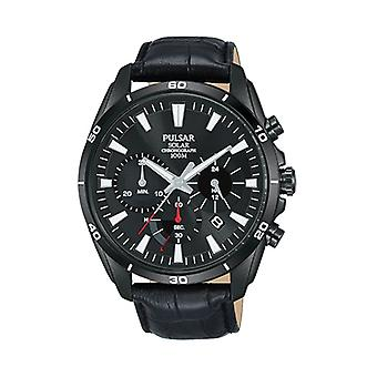 Pulsar negra acero inoxidable caso negro cuero correa Mens Watch pz5063x1 44mm
