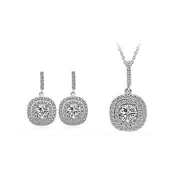 Kissen Halo Silber vergoldet Ohrringe und Halskette Schmuck Set
