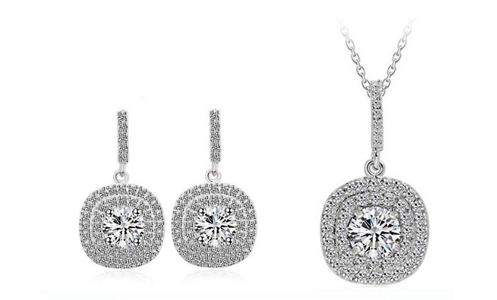 Cushion Halo Silver Plated Earrings And Necklace Jewellery Set