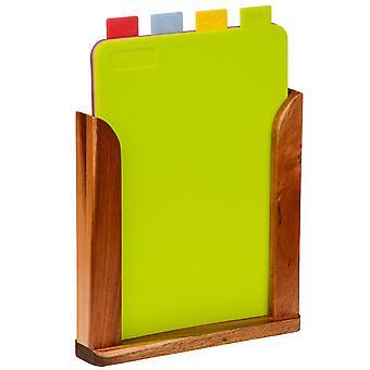 Karty - zestaw 4 kolor kodowane deski do krojenia w stojak z drewna - brązowo -wielokolorowe