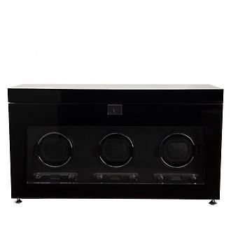 Wolf Designs Savoy Black Wood & Chrome Triple Watch Winder 2.7 With Storage