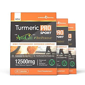Turmeric Pro SPORT with AstraGin plus BioPerine 12,500mg 95% Curcuminoids - 180 Capsules (3 Months) - Brain, Heart and Joint Health - Evolution Slimming