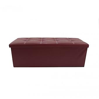 Meubles Rebecca Pouf Bench Container Ecopelle Bordeaux Padded38x110x38