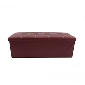 Möbel Rebecca Pouf Bank Container Ecopelle Bordeaux Gepolstert38x110x38