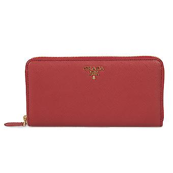 Prada Red Saffiano Leather Zip-Up Wallet 1ML506 QWA F068Z