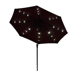 Outsunny 2.7m Patio Garden Umbrella Outdoor Parasol with Hand Crank w/ 24 LEDs Lights (Wine Red)