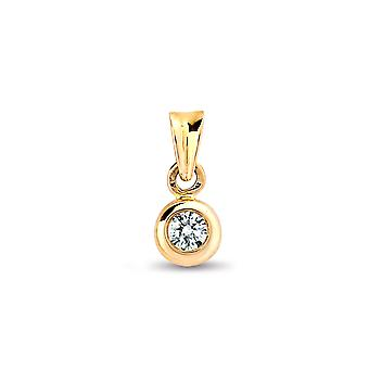 Jewelco London Ladies Solid 9ct Yellow Gold Rub Over Set H I1 0.15ct Diamond Donut Ring Solitaire Pendant