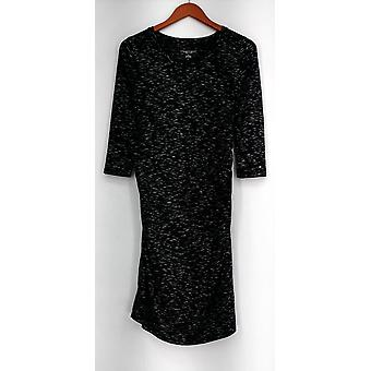 Liz Lange Maternity Dress Stretch Knit Printed Long Sleeve Black