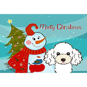 Carolines Treasures  BB1877PLMT Snowman with White Poodle Fabric Placemat