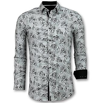 Casual Shirts - Flower Motif - White