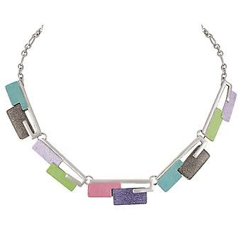Eternal Collection Contemporary Multicoloured Enamel Silver Tone Statement Necklace
