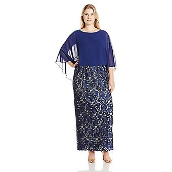 Alex Evenings Donne's Plus Taglia Pizzo Abito con Chiffon Cape, Navy Nude, 16W