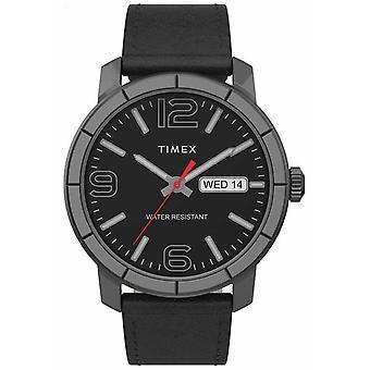 Timex | Mężczyźni's Mod 44mm | Czarny skórzany pasek | Czarna tarcza | Zegarek TW2T72600