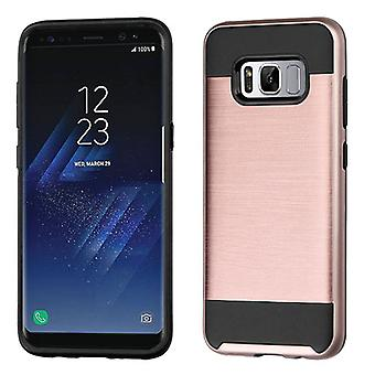 ASMYNA Rose Gold/Black Brushed Custodia ibrida per Galaxy S8 Plus