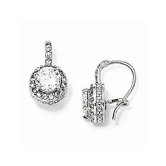 925 Sterling Sølv Nyre wire Rhodium belagt CZ Cubic Zirconia simuleret Diamond franske Wire Øreringe smykker gaver til