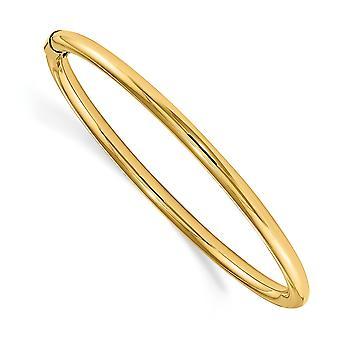 14k oro amarillo hueco resbalón en pulido 2.5mm slip en el puño del bebé apilable brazalete joyería regalos para las mujeres
