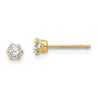 14k Yellow Gold Polished CZ Cubic Zirconia Simulated Diamond Stud Post Earrings Jewelry Gifts for Women