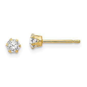 14k keltainen kulta kiillotettu CZ kuutio Zirconia simuloitu Diamond Stud Post korvakorut mittaa 3x3mm leveä koru lahjoja Wo