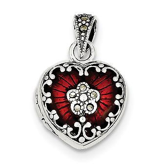 925 sterling sølv polert tilbake rød emalje og marcasite kjærlighet hjerte foto medaljong anheng halskjede 5/8 tommers x 3/4 tommers
