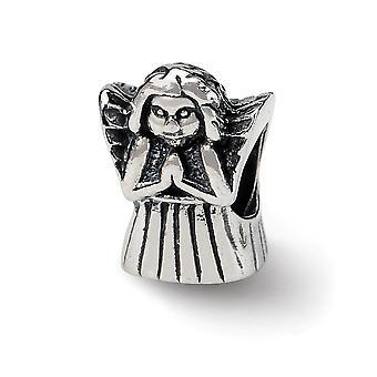 925 Sterling Silber poliert Finish Reflexionen beten religiösen Schutz Engel Perle Anhänger Anhänger Halskette Schmuck Gif