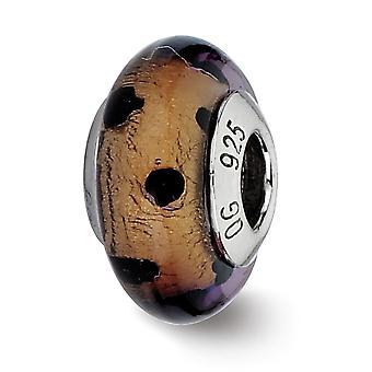 925 plata esterlina italiana Murano Glass Reflections Brown With Black Dots Italiano Murano Bead Charm Colgante Collar Je