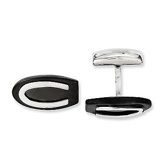 Stainless Steel Polished IP black plated Black Ip plated Oval Cuff Links Jewelry Gifts for Men