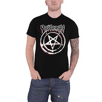 Onslaught T Shirt Pentagram Band Logo thrash metal new Official Mens Black