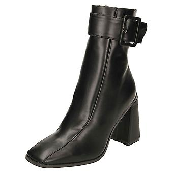 Koi Footwear Chunky Wide Base High Heel Square Toe Ankle Boots