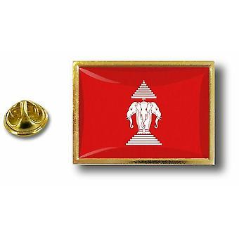 Pins Pin Badge Pin's Metal  Avec Pince Papillon Drapeau Laos Ancien