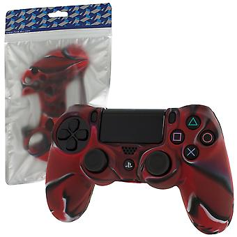 Soft silicone rubber skin grip cover for sony ps4 controller with ribbed handle - camo red