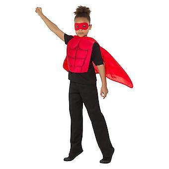 Childrens rød superhelte Fancy kjole Kit