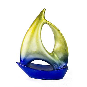 Yellow Blue Ceramic Ombre Large Sailboat Sculpture
