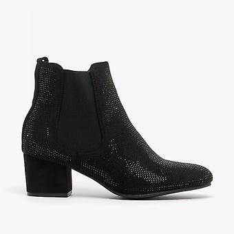 Heavenly Feet Wave2 Ladies Ankle Boots Black Diamante