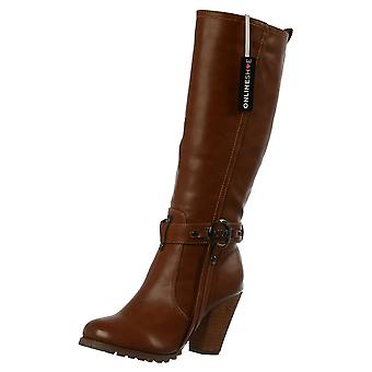 Onlineshoe New - Tall Knee High Biker Boots With Straps And Heel - Black, Tan, Brown