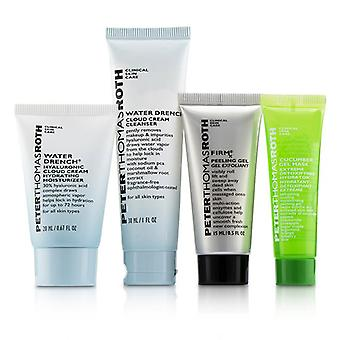 Peter Thomas Roth jet set facial! Set 4 piese: 1X cleanser 30ml + 1X cremă hidratantă 20ml + 1X Mască gel de castravete 14ml + 1X gel de peeling 15ml-4buc